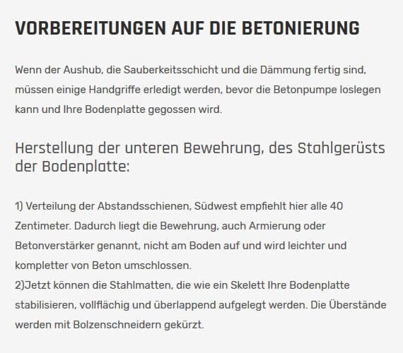 Betonierung aus  Deutschland
