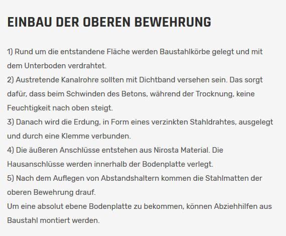 Obere Bewehrung in  Deutschland